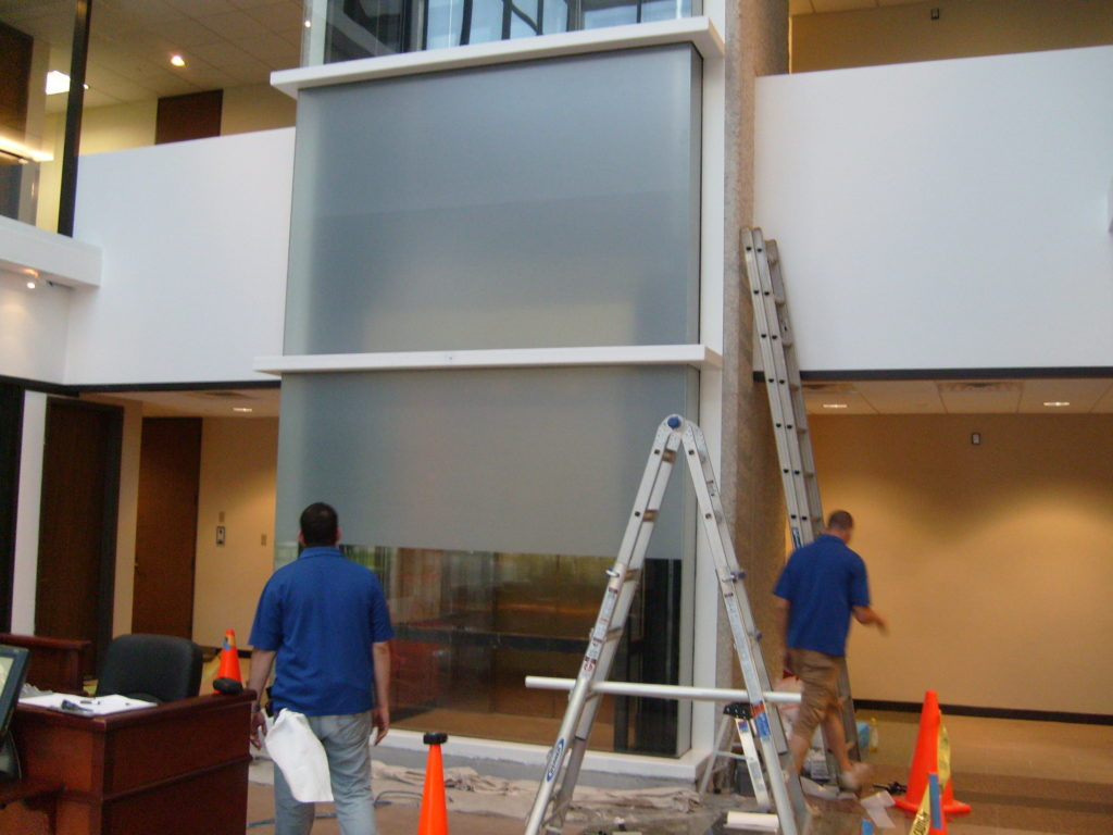 Opaque Film on Elevator Shaft (in process)